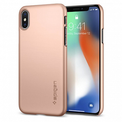 Клип-кейс Spigen для iPhone X Thin Fit, золотистый (057CS22110)